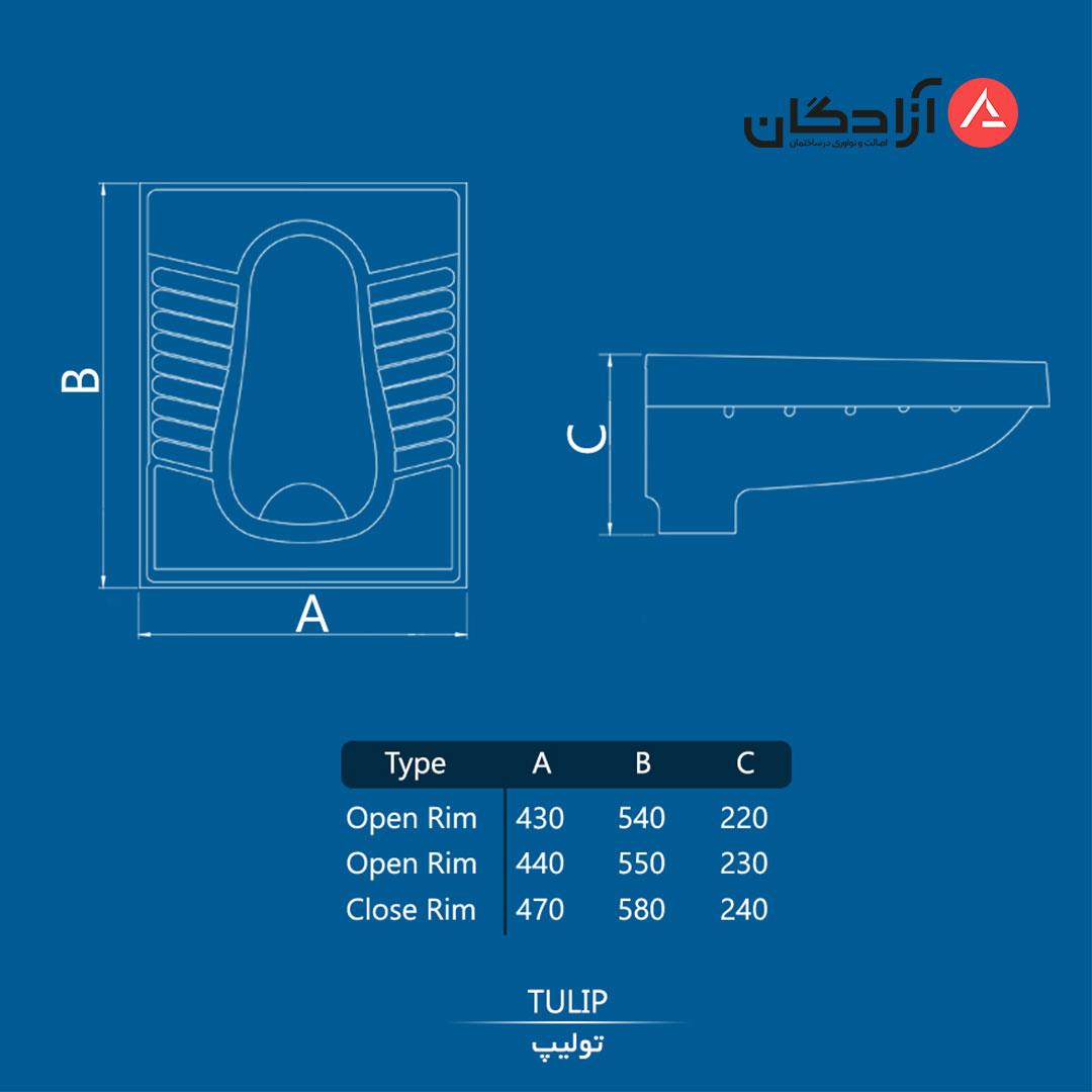 توالت ایرانی چینی کرد مدل تولیپ-5